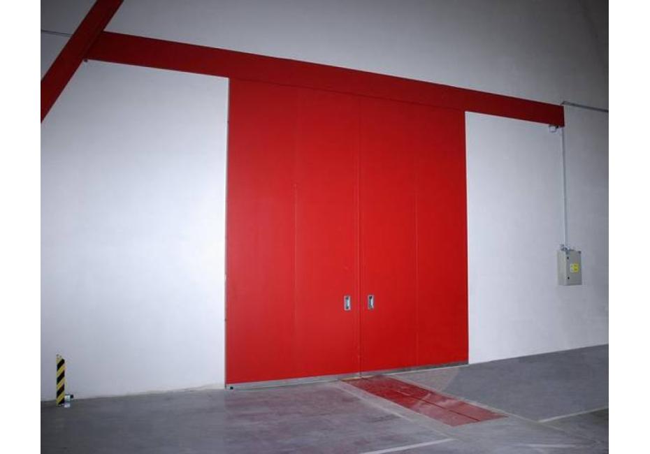 Horizontalna drsna požarna vrata - dvokrilna